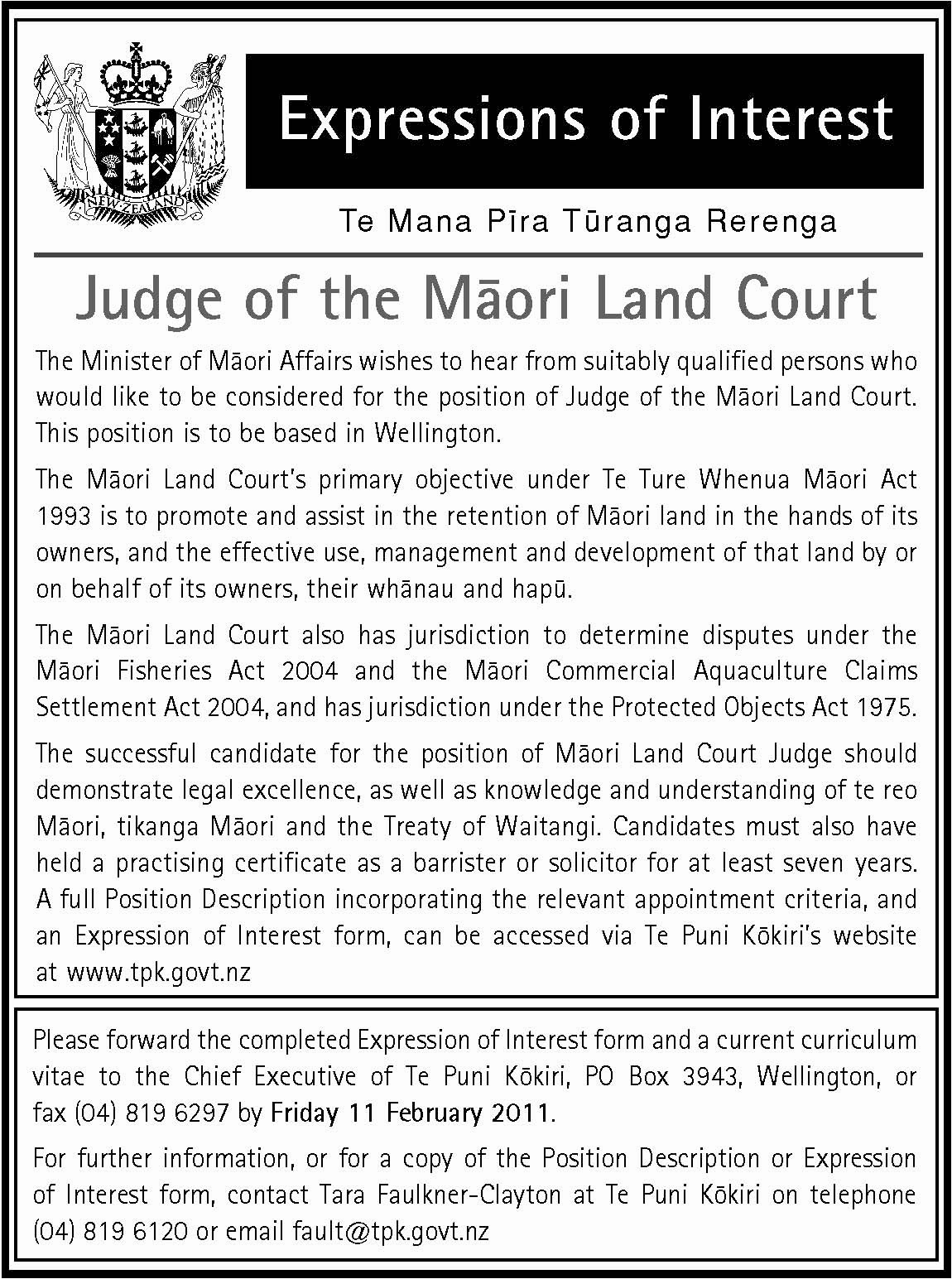 expressions of interest for judge of the m u0101ori land court