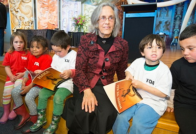 Caption: Author Patricia Grace reads from Haka! at the launch of her books.