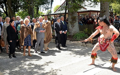 Prince Charles and the Duchess of Cornwall being welcomed onto Tūrangawaewae.