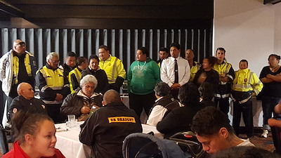 Mana Whenua welcome the nearly-sixty strong contingent of Māori Wardens.