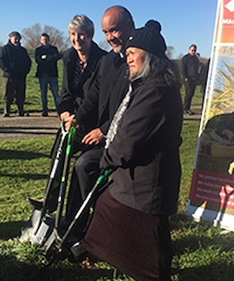 'Turning of the sod' ceremony at Kokohinau Marae papakāinga to mark the commencement of the papakāinga build, 2017. Pictured from left to right: Whakatāne District Council Deputy Mayor, Judy Turner, Māori Development Minister, Hon Te Ururoa Flavell and Kokohinau Marae Kuia, Merehuka Holt.