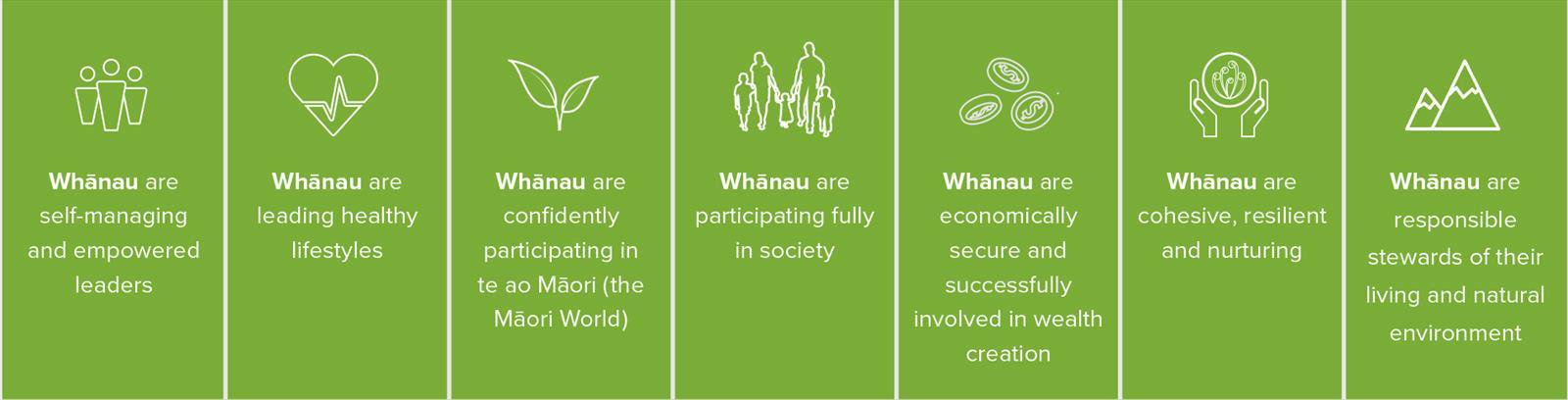 Whānau are self-managing & empowered leaders. Whānau are leading healthy lifestyles. Whānau are confidently participating in Te Ao Māori. Whānau are participating fully in society. Whānau are economically secure & successfully involved in wealth creation. Whānau are cohesive, resilient & nurturing. Whānau are responsible stewards of their living & natural environment.