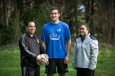 Pou Hākinakina Canaan Tuhura works with rangatahi Blake Bird (18) and Angela Gilmore (23) to help them realise their dreams in sport and life.