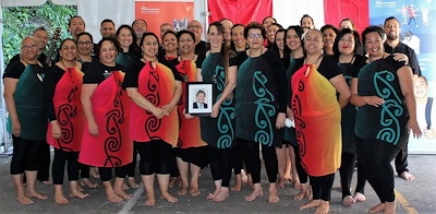 Te Puni Kōkiri kapa haka group just before it went onstage.