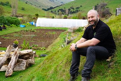Manaia Cunningham is part of a project to restore māra kai on Banks Peninsula to their once famous status as bountiful kai baskets. The project is supported by Whānau Ora.