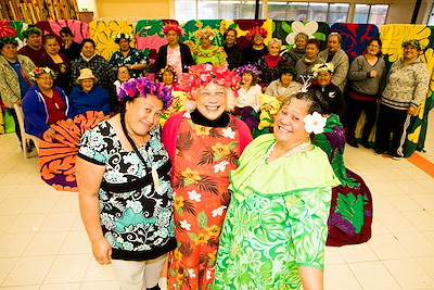 The Mamas' tivaevae revival group in Porirua, Wellington keeps culture alive and fosters a sense of belonging for themselves and others. Featured: Feiloaiga Maene, Ngaro Teuruaa and Teaue Robati (left to right). Photo by Adrian Heke.