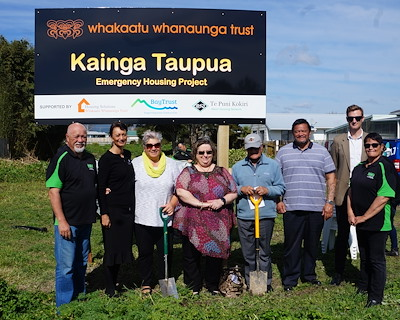 Foundations and construction work has commenced at the Ōpotiki site of a new emergency housing project named 'Kāinga Taupua'. Representatives from Whakaatu Whanaunga Trust, Housing Solutions Trust, Bay Trust and Te Puni Kōkiri were there in support. Credit: Whakaatu Whanaunga Trust.