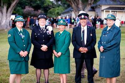 Māori Wardens photographed at Waitangi 2019 from left to right – Louise Dovey (North Shore MW), Mary-Anne Vogt (Hikurangi MW), Paea Haurahi (North Shore MW), Haki Wihongi (North Kaipara MW), Peggy Hughes (North Shore MW).