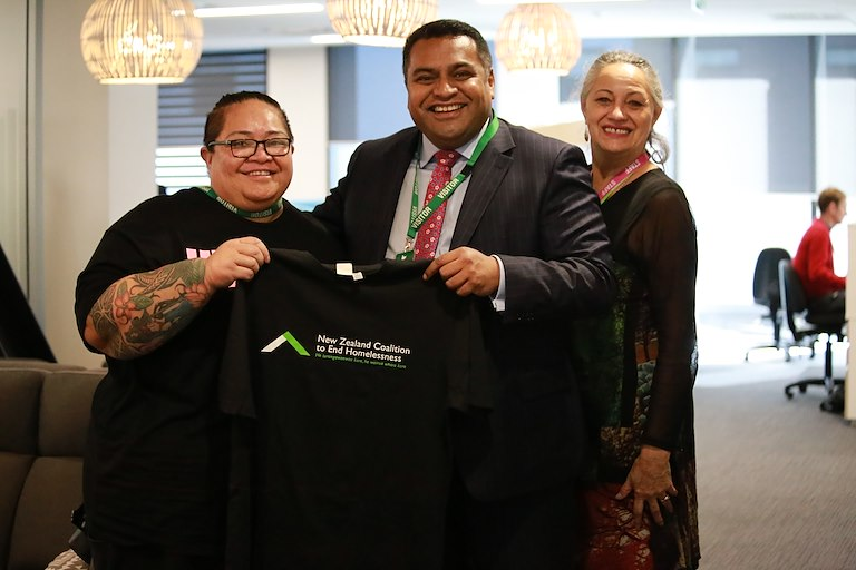 Associate Minister of Housing Kris Fa'afoi with Charlotte Arma, manager James Liston Hostel, Auckland emergency housing (left) and Diana Hegan, from the New Zealand Coalition to End Homelessness and Te Puni Kōkiri.