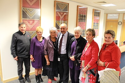 Caption: Myself and Whaea June Jackson (third from right) with weaver Christina Wirihana (far right) and her whānau: (from left) John Lawless, Josie Gedson, Matekino Lawless, and Gaylene Henry.