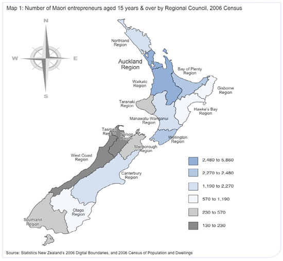 Map of New Zealand showing number of Māori entrepreneurs aged 15 years and over by Regional Council