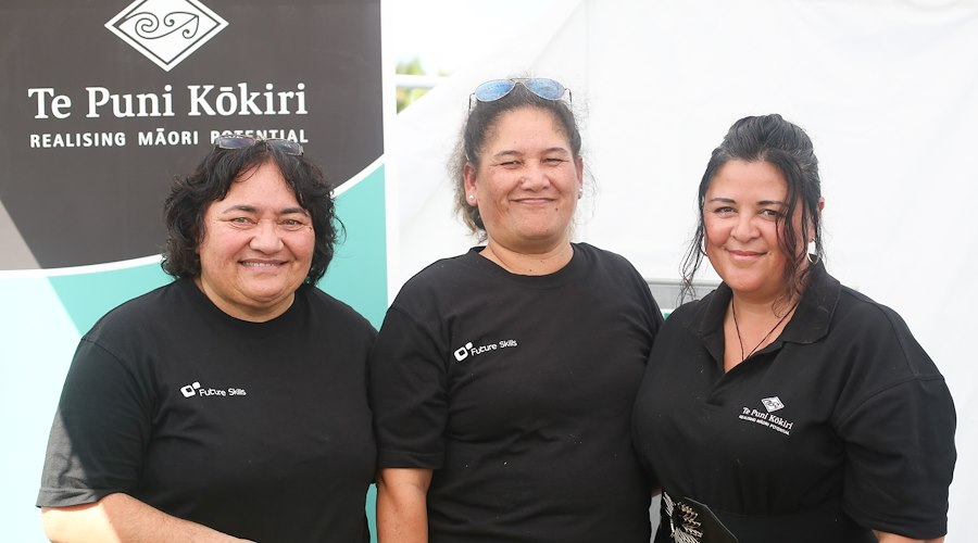 Te Puni Kōkiri staff and stall visitors at the ASB Polyfest 2017 held in Tāmaki Makaurau.