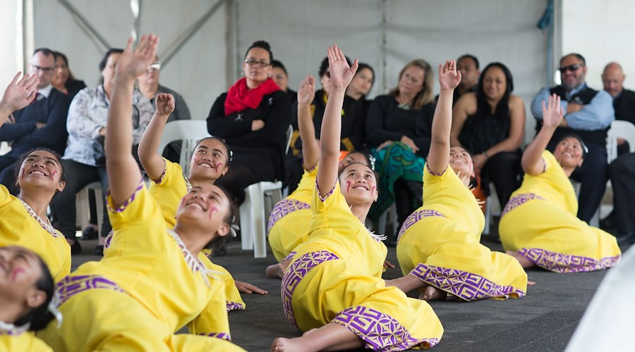 Auckland Grammar Girls School performing at the opening of Te Puni Kōkiri house in Mānukau.
