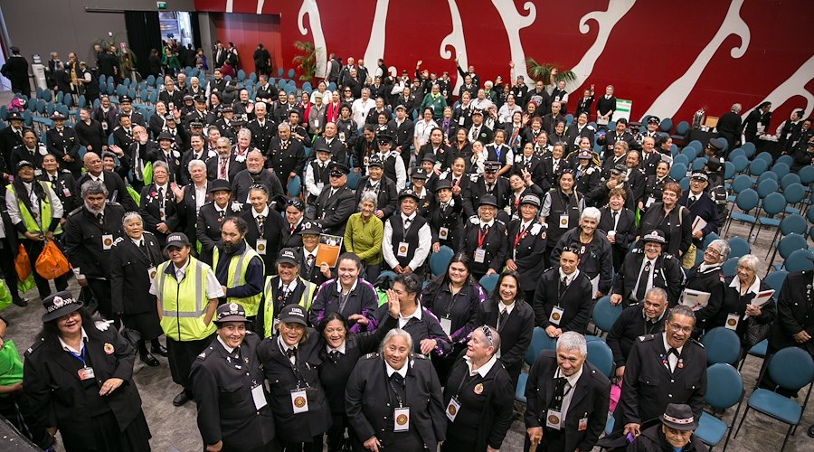 Our Māori Wardens posing for an image at the Māori Wardens National Conference 2017 held in Rotorua. Photographer: Te Rawhitiroa Bosch.