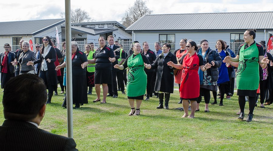 Whānau from Te Rūnanga o Kirikiriroa at the Hamilton social housing project – Wairere Village that was opened. Photographer: Trina Edwards.